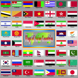 Flags of Asian Countries. Royalty Free Stock Images