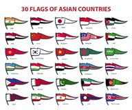 30 flags of asian countries vector illustration