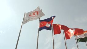 Flags of Asian countries in Asian games in Vietnam 2016. stock video footage