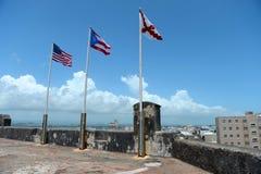 Flags Atop Castillo San Cristobal Stock Photography