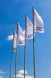 The flags of Audi over blue sky Royalty Free Stock Photos
