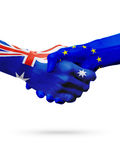 Flags Australia, European Union countries, partnership friendship, national sports team Stock Images