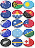 Flags of Australia, Oceania, Polynesia, Micronesia and Melanesia Royalty Free Stock Photos