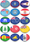 Flags of Australia, Oceania, Polynesia, Micronesia and Melanesia. Set of icons. Flags of Australia, Oceania, Polynesia, Micronesia and Melanesia Stock Images