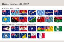 Flags Australia and Oceania. Realistic style big set. Collection of national symbols. Vector illustrations of tribes, aborigines, peoples, pacific ocean concept Stock Photography