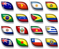 Flags of Australia & South America 2. 16 flags icons (buttons) of Australia and South America 600x504 pixels vector illustration