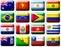 Flags of Australia & South America. 16 flags icons (buttons) of Australia and South America 599x457 pixels vector illustration