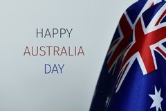 Flags of australia and text happy australia day royalty free stock image