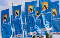 Flags with Australian Open logos Stock Photography