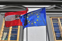 Flags of Austria and EU Stock Photo