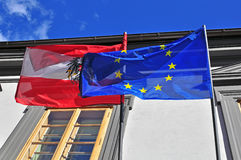Flags of Austria and EU Royalty Free Stock Photo