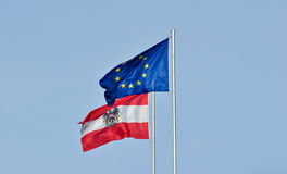 Flags of austria and the european union Royalty Free Stock Images