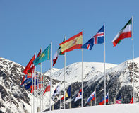 Flags on a background of mountains Royalty Free Stock Photos