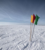 Flags in winter landscape Stock Photography