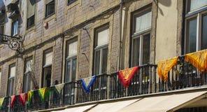 Flags on Balconies Stock Photo