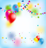 Flags and balloons. Holiday template for design banner,ticket, leaflet, card, poster and so on. Happy birthday background and balloons Stock Photos