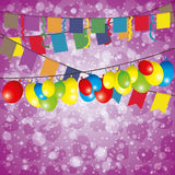 Flags and balloons. Vector background. Flags and balloons Royalty Free Stock Photo