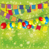 Flags and balloons. Vector festive background. Flags and balloons Royalty Free Stock Photo