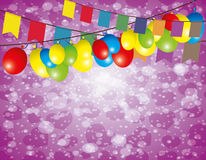 Flags and balloons. Vector festive background. Flags and balloons Royalty Free Stock Photography