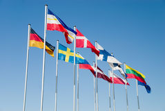 Flags of Baltic countries Stock Photos
