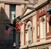 Flags in Baltimore MD. American and Maryland flags in Baltimore MD Stock Photos