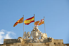 Flags of Barcelona, ​​Catalonia and Spain Stock Image