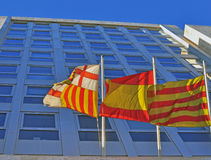 Flags of Barcelona, Catalonia, Spain Royalty Free Stock Photos