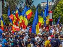 Flags at basarabia and romania march for unification Royalty Free Stock Photography