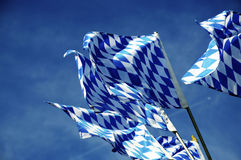 Flags of Bavaria. Flags of the Land Bavaria in the southern Germany Stock Photo