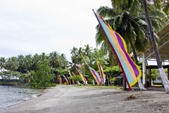 Flags on a beach. Decorative flags on a beach, Davao, Philippines Stock Images