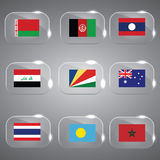 9 Flags. Beautiful 9 Flags of the world Set Vector illustration Royalty Free Stock Photos
