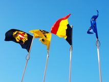Flags in Belgium Royalty Free Stock Photos