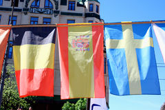 Flags of belguim, spain, sweden Royalty Free Stock Photos