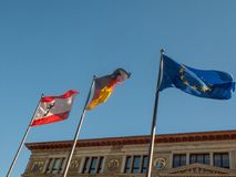 Flags of Berlin, of Germany, of European Union. Waving Royalty Free Stock Images