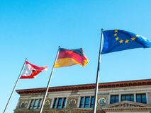 Flags of Berlin, of Germany, of European Union. Waving Royalty Free Stock Photos