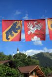 Flags of Bern and Gstaad Royalty Free Stock Image