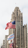 Flags Blowing by Old Chicago Tower Stock Photos