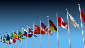 Flags blowing in the wind stock footage