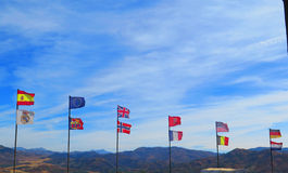 Flags blowing in the wind Royalty Free Stock Image