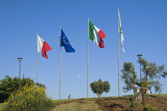 Flags on blue sky. Royalty Free Stock Photos