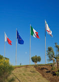 Flags on blue sky. Stock Image