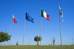 Flags on blue sky. Royalty Free Stock Photo