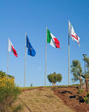 Flags on blue sky. Stock Images