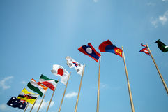 Flags on blue sky Royalty Free Stock Photo