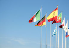 Flags on a blue sky Royalty Free Stock Photography
