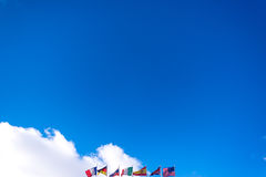 Flags on the blue sky Royalty Free Stock Images