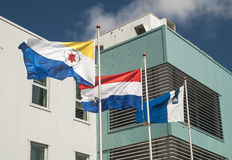 Flags of Bonaire, Netherlands and Rijksdienst Dutch Caribbean Royalty Free Stock Images