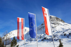 Flags at the Border crossing from Italy to Austria Royalty Free Stock Image