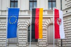 Flags of Brandenburg, Europe Union (EU) and Germany. Royalty Free Stock Photos