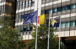 Flags in the Brussels. Stock Images